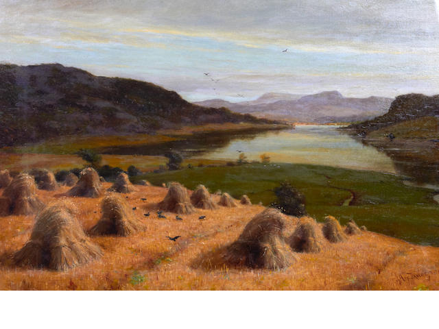 James Hey Davies (British, 1844-1926) A river landscape at harvest in the Conway Valley