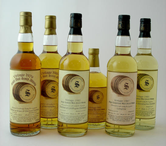 Braes of Glenlivet-15 year old-1979<BR /> Inchgower-12 year old-1980<BR /> Allt-A-Bhainne-12 year old-1981<BR /> Linlithgow-18 year old-1982<BR /> Longrow-9 year old-1987<BR /> Glenallachie-11 year old-1985