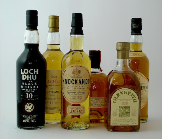 Loch Dhu-10 year old<BR /> Strathmill-11 year old<BR /> Knockando-1979<BR /> The Glenrothes-1982<BR /> Glen Keith-Pre 1983<BR /> Glen Deveron-12 year old-1984