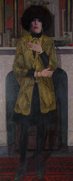 Frank Johnson (British, Leicester 1917-1998 Bradford) Portrait of Diane Bates full length wearing a fur hat and gold lace jacket with gold jewellery,
