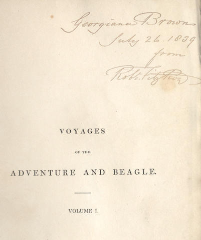DARWIN (CHARLES), ROBERT FITZROY and PHILIP PARKER KING Narrative of the Surveying Voyages of His Majesty's Ships Adventure and Beagle, Between the Years 1826 and 1836, Describing the Examination of the Southern Shores of South America, and the Beagle's Circumnavigation of the Globe, 3  vol. bound in 4 (including the appendix to volume 2), FIRST EDITION, PRESENTATION COPY INSCRIBED IN EACH VOLUME BY ROBERT FITZROY, 1839