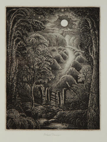 Robin Tanner (British, 1904-1988) The Full Moon together with 'The Old Road' and 'Wren and Primroses', three etchings, 1977, each on BFK Rives, each signed in pencil, bound in 'British Etchers 1850-1940' by Kenneth M. Guichard as published, printed by Wessex Press, published by Robin Garton, London, overall 339 x 279mm (13 3/8 x 11in) 3 vol
