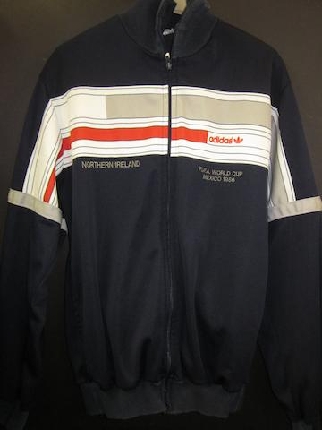 A tracksuit top worn by Jimmy Nicholl at the 1986 World Cup
