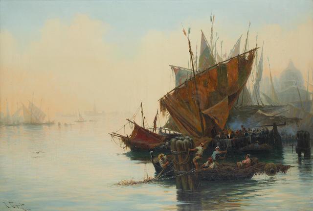 Ramón Tusquets y Maignon (Spanish, 1838-1904) The misty lagoon, Venice