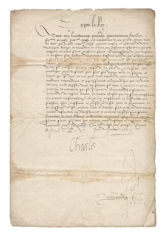"CHARLES IX, King of France. Passport signed (""Charles""), issued to Sir Nicholas Throckmorton, the English ambassador, 1562"
