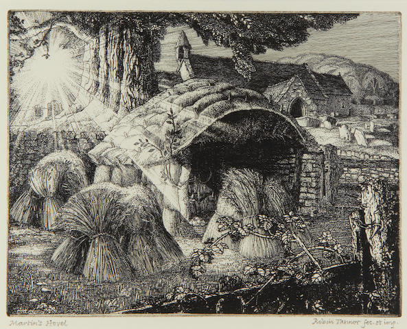 Robin Tanner (British, 1904-1988) Martin's Hovel Etching, 1927, the third state, on heavy laid, signed and titled in pencil, with margins, 165 x 212mm (6 1/2 x 8 3/8in)(PL)