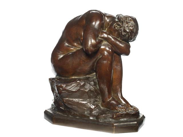 Aimé-Jules Dalou, French (1838 - 1902) A bronze figure La Verité méconnue (Truth Denied)cast by Susse Frères, Paris