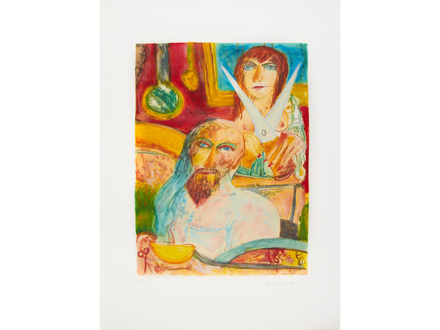 John Bellany CBE RA HRSA LLD(Lon) (British, born 1942) The Bellany Sextet  The complete set of six etchings with aquatint printed in colours, 1993, titled 'Samson & Delilah', 'Moonlight', 'The Presence', 'Perdu', 'The Lovers' and 'The Fright', each on wove, each signed and numbered 21/50 in pencil, with full margins, loose as issued within the original red linen-covered portfolio, each 745 x 555mm (29 3/8 x 21 7/8in)(PL)(unframed)(6)