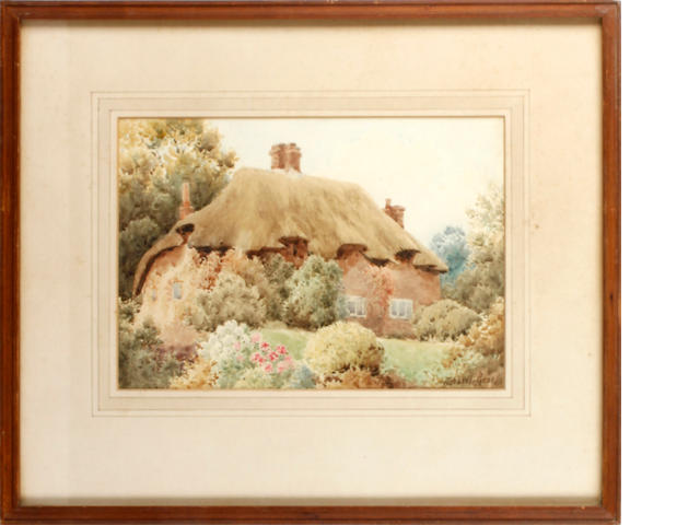 Herbert George (British), 19th Century View of a thatched country cottage