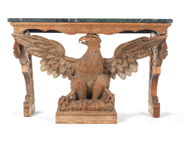 A George II style carved pine eagle console table  by James Walker in the manner of William Kent