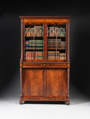 A Regency Scottish mahogany and inlaid bookcase