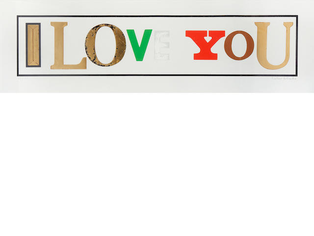 Sir Peter Blake (British, born 1932) I Love You (white) Screenprint with diamond dust, 2010, on wove, signed and numbered 65/175 in pencil, published by CCA Galleries, London, with their blindstamp, with margins, 420 x 1360mm (16 1/2 x 53 1/2in)(SH)