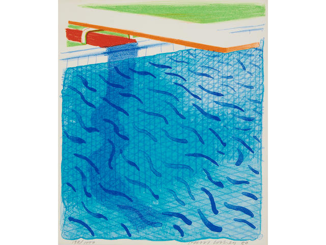 David Hockney R.A. (British, born 1937) Pool Made with Paper and Blue Ink for Book Lithograph printed in colours, 1980, on Arches cover paper, signed and dated in pencil, numbered 198/1000, published by Tyler Graphics, Ltd., Mount Kisco, New York, 1980, with their blindstamp, with the accompanying book 'Paper Pools', with title, text and justification, signed by the artist on the justification in red ink, copy 198 of 1000, within the original slipcase, 265 x 225mm (10 1/8 x 8 7/8in)(unframed & Vol)