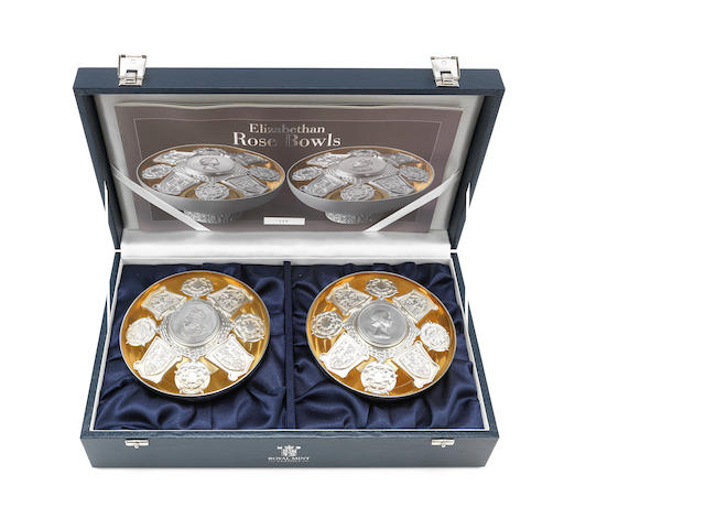 CHRISTOPHER NIGEL LAWRENCE: A cased pair of silver commemorative 'Queen Elizabeth' rose bowls London 2003, also with Royal Mint mark