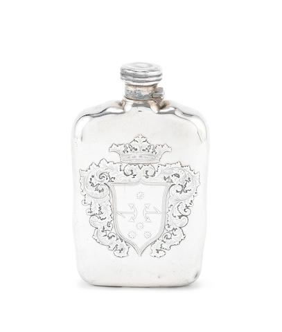 TIFFANY: A late-19th century silver spirit flask pattern and order numbers, 7076 and 3909 incuse marked STERLING SILVER, circa 1898