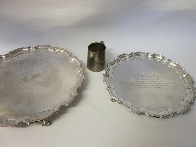 A silver salver by Stower and Wragg, Sheffield 1942  (3)