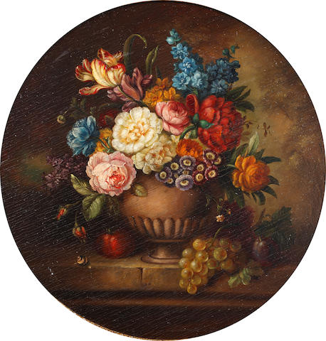 Dutch school 19th Century Still lives of flowers in urns (a pair) 32cm. (12 5/8in) diam. (2)