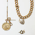 A curb-link bracelet, a fancy-link chain and a sovereign pendant,