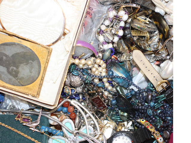 A quantity of costume jewellery, silver and electro-plated items,