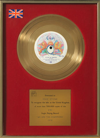 Queen: A BPI Gold award for the single 'We Are The Champions', 1978, presented to Mike Stone,