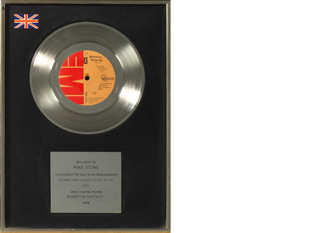 Queen: a Platinum EMI in-house award for the single 'Bohemian Rhapsody',  1976, presented to Mike Stone,