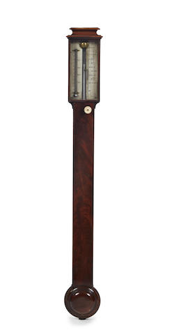 An early 19th century figured mahogany stick barometer Abraham Optician, Liverpool.