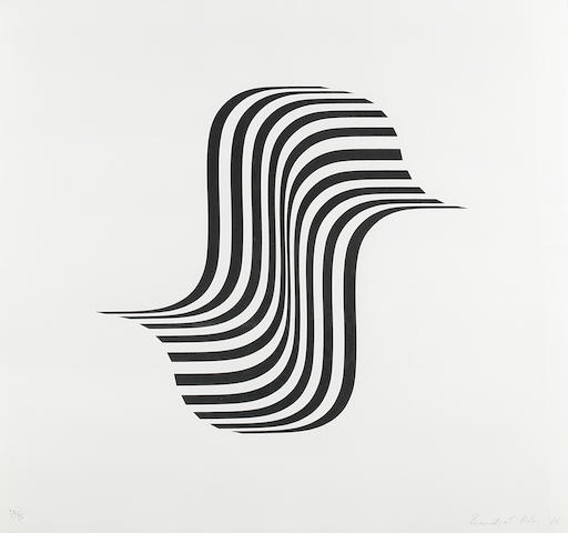 Bridget Riley (British, born 1931) Untitled (Winged Curve) Screenprint, 1966, signed, dated and numbered 32/75 in pencil, printed by Kelpra Studio, 578 x 625mm (22 3/4 x 24 5/8in)(SH)