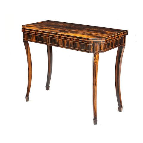 A Regency calamander card table