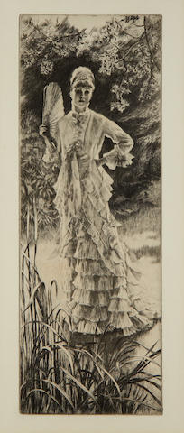 James Jacques Joseph Tissot (French, 1836-1902) Printemps Etching and drypoint, 1878, on laid, from an edition of approximately 100, with margins, 279 x 134mm (11 x 5 1/4in)(PL)