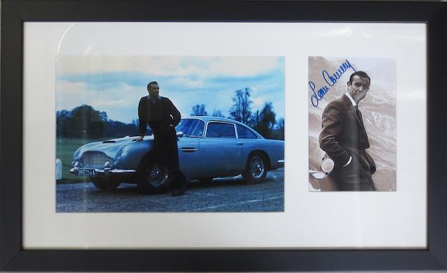 A signed James Bond 'Goldfinger' framed display,