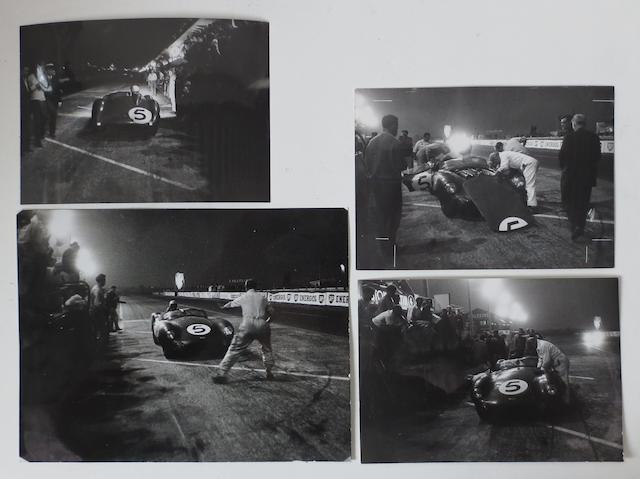 Four Aston Martin 1959 Le Mans 24 Hour press photographs,