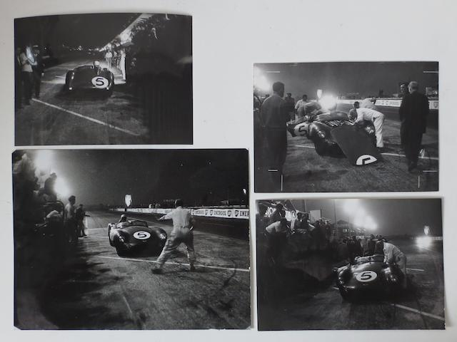 Four Aston Martin 1959 Le Mans 24 Hour press photographs,