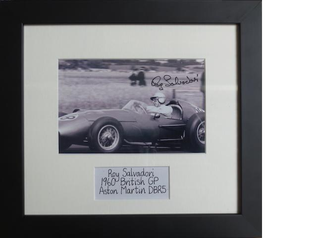 A signed photograph of Roy Salvadori at the 1960 British Grand Prix,