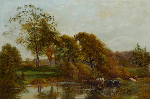 George Vicat Cole, RA (British, 1833-1893) Cows watering by a river