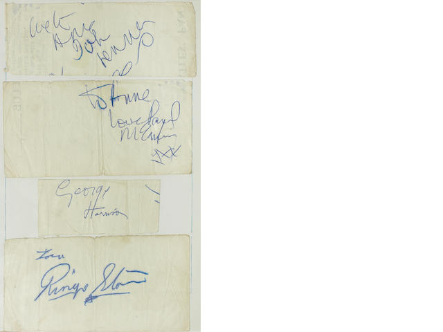 The Beatles: a set of autographs, probably late 1962,