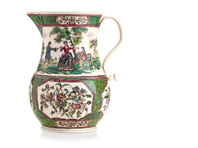 A Staffordshire polychrome decorated saltglaze jug Circa 1760