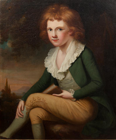 English School, late 18th Century Portrait of a boy, three-quarter-length, in a green coat and beige breeches, seated before a landscape