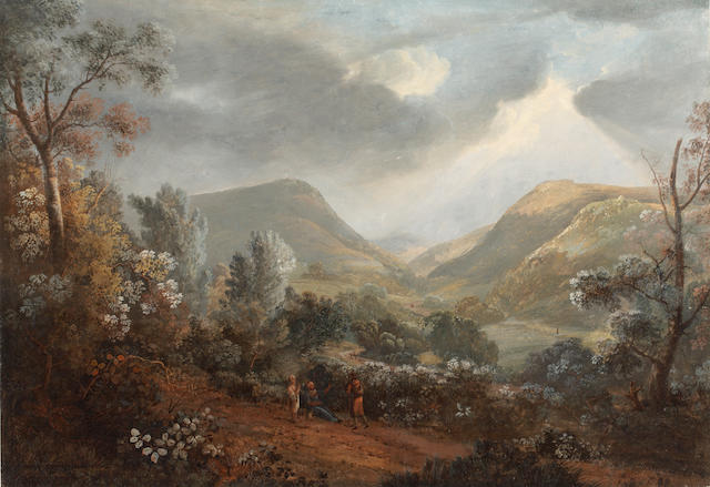 "Attributed to John Inigo Richards (British, 1731-1810) A view in the Lake District, The Passing Storm 15"" x 22"""