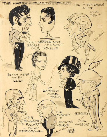 Vivien Leigh and others: Two theatrical caricature groups by Owen Ascroft, 1930's,