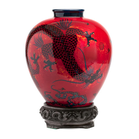 A large limited edition Doulton Burslem 'Artwares' flambé Samning dragon vase Circa 2000