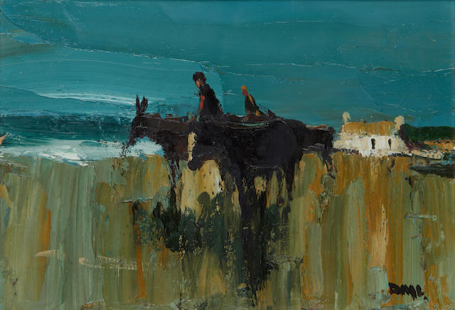 Donald McIntyre (British, 1923-2009) Donkeys and pony on the sand