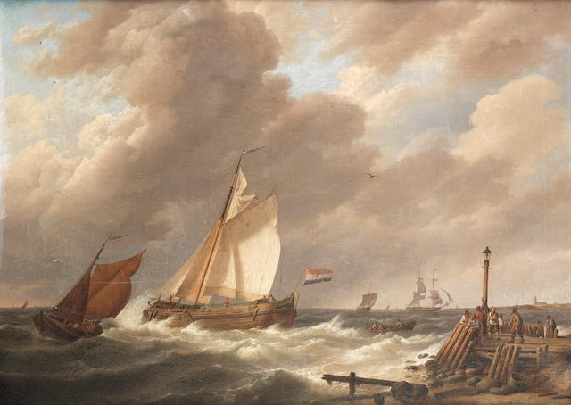 Johannes Hermanus Koekkoek (Dutch, 1778-1851) Sailing vessels at the mouth of an estuary