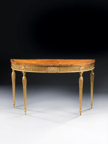 George III satinwood, harewood marquetry and giltwood pier table