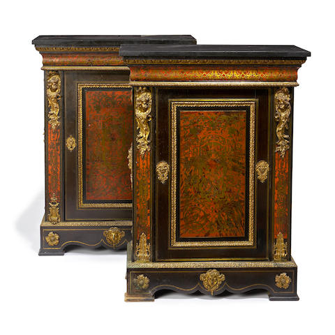 A pair of 19th century gilt bronze mounted ebony, ebonised, tortoiseshell and brass 'Boulle' marquetry pier cabinets