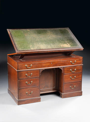 A George III mahogany double-sided architects desk attributed to Gillows