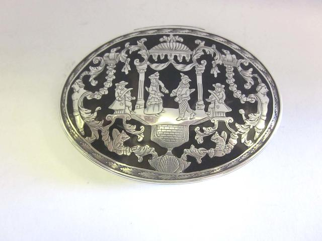 A late 18th/early 19th century Continental tortoiseshell and silver  snuff box
