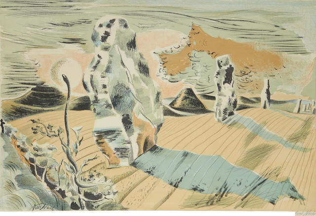 Paul Nash (British, 1889-1946) Landscape of the Megaliths  Lithograph printed in colours, 1937, on wove, signed in pencil from an edition of approximately 1000, published by Contemporary Lithographs Ltd, London, 510 x 765mm. (20 x 30 1/4in)(SH)(unframed)