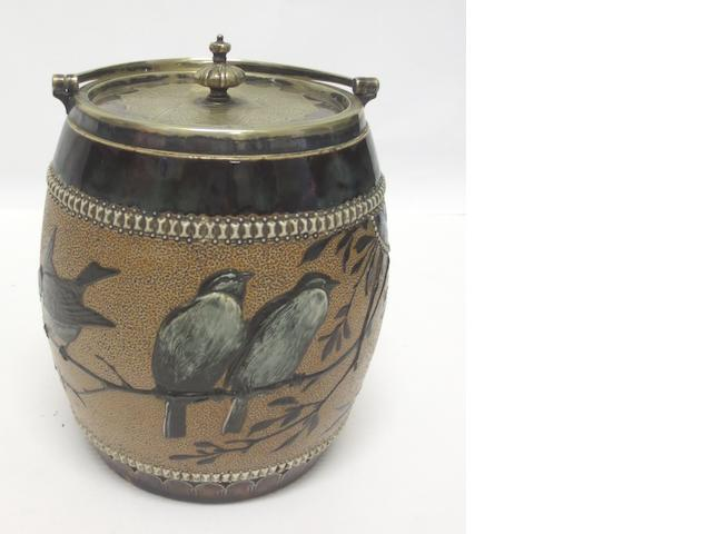 A Doulton Lambeth stoneware biscuit barrel by Florence Barlow 1881