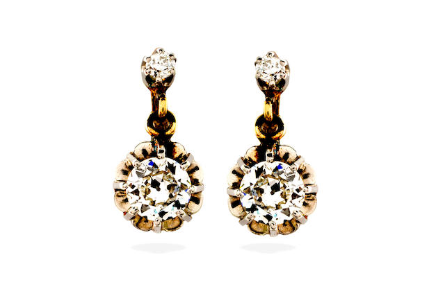 A pair of early 20th century diamond earrings