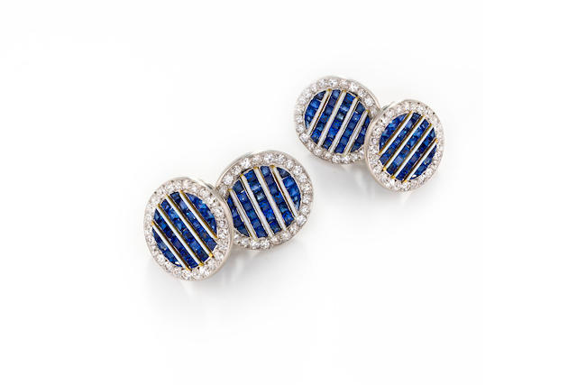 A pair of Art Deco sapphire, diamond and enamel cufflinks,